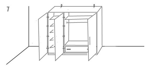 сборка шкафа с распашными