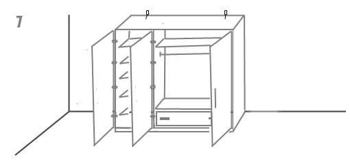 схема установки шкафа 7