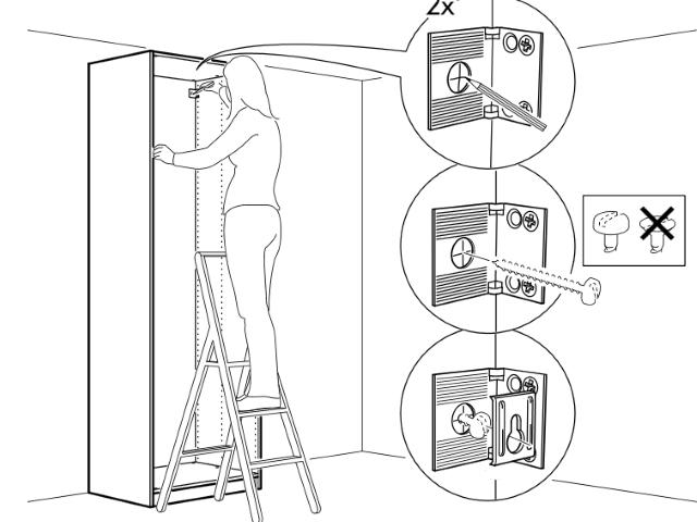 крепление шкафа пакс к стене