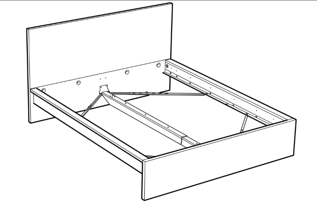 схема собранной кровати