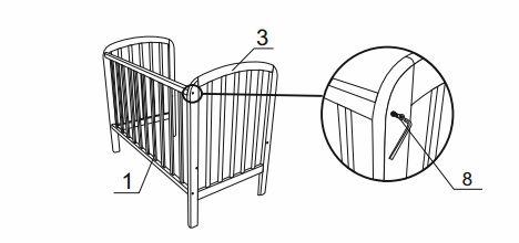 соединение корпуса кроватки