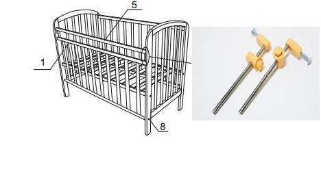 схема установки подъемной планки на кроватку