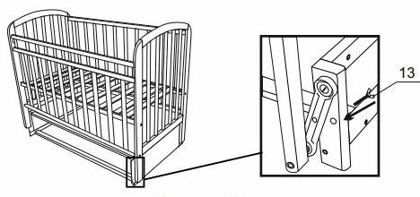 винт для блокировки маятникового механизма в кроватке