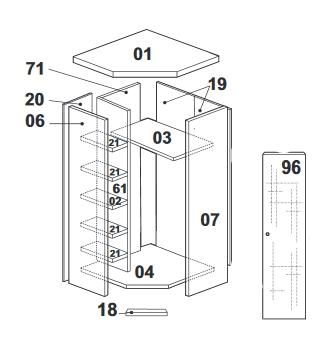 схема сборки углового шкафа