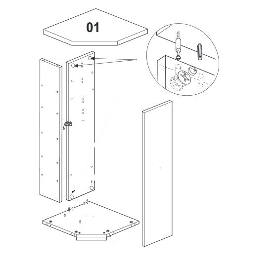 установка верха углового шкафа