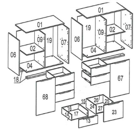 схема соединений деталей комода