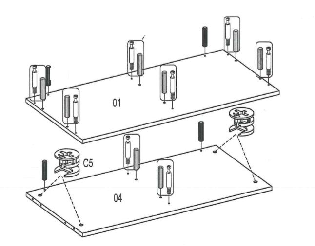 установка фурнитуры на дно и верх комода